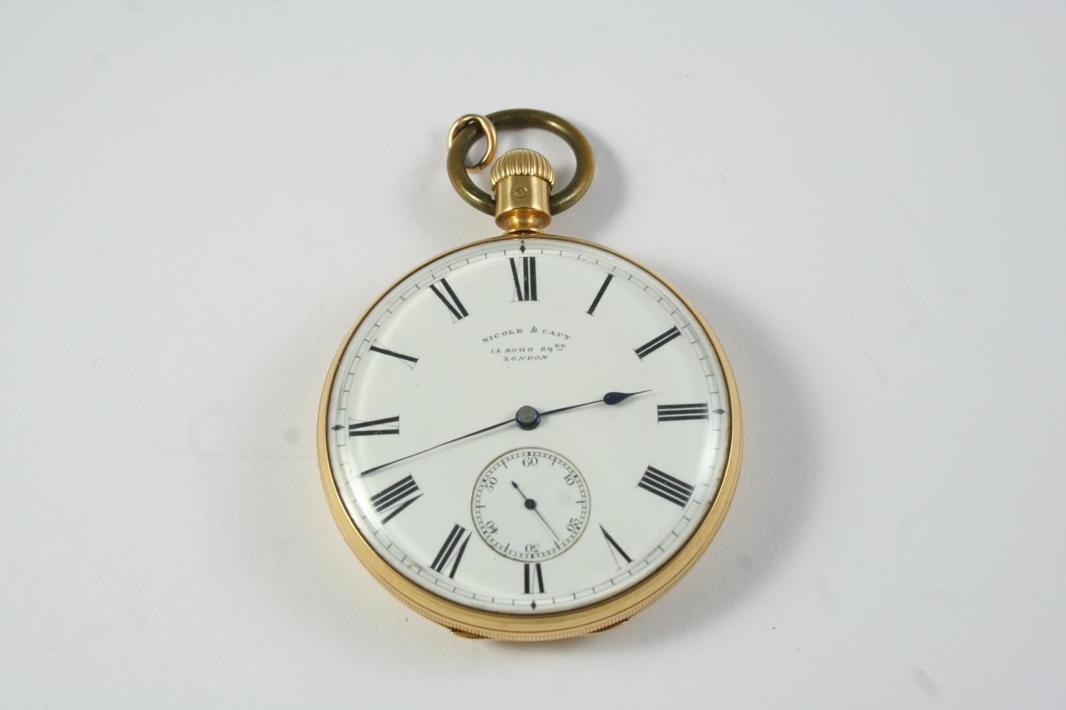 AN EARLY KEYLESS 18CT GOLD OPEN FACED POCKET WATCH BY NICOLE & CAPT, 14 SOHO SQ., LONDON the - Image 6 of 6