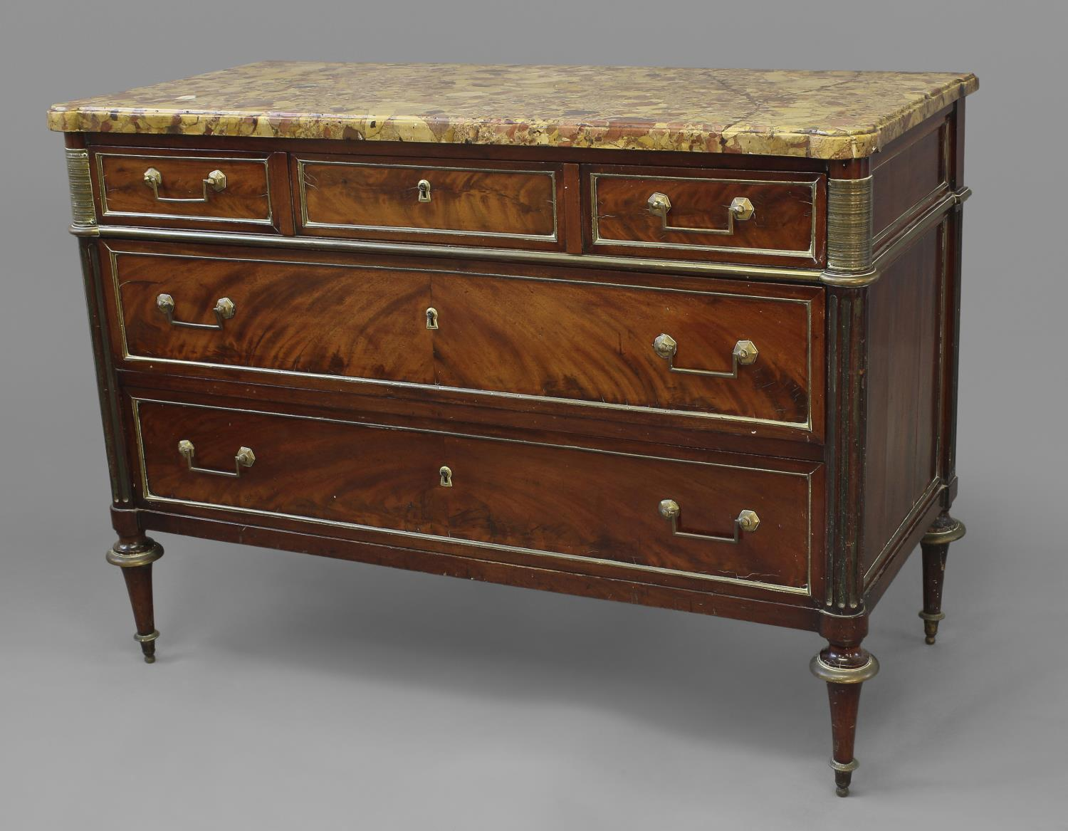 A LOUIS XVI MAHOGANY AND BRASS MOUNTED CHEST OF DRAWERS, with a fine variegated marble top with - Image 2 of 2