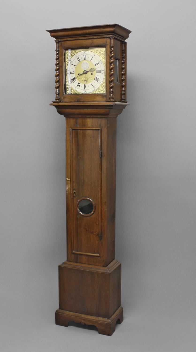 """A WALNUT CASED LONGCASE CLOCK BY FRY OF KILMARSDON. With an 11"""" dial with silvered chapter ring - Image 2 of 3"""