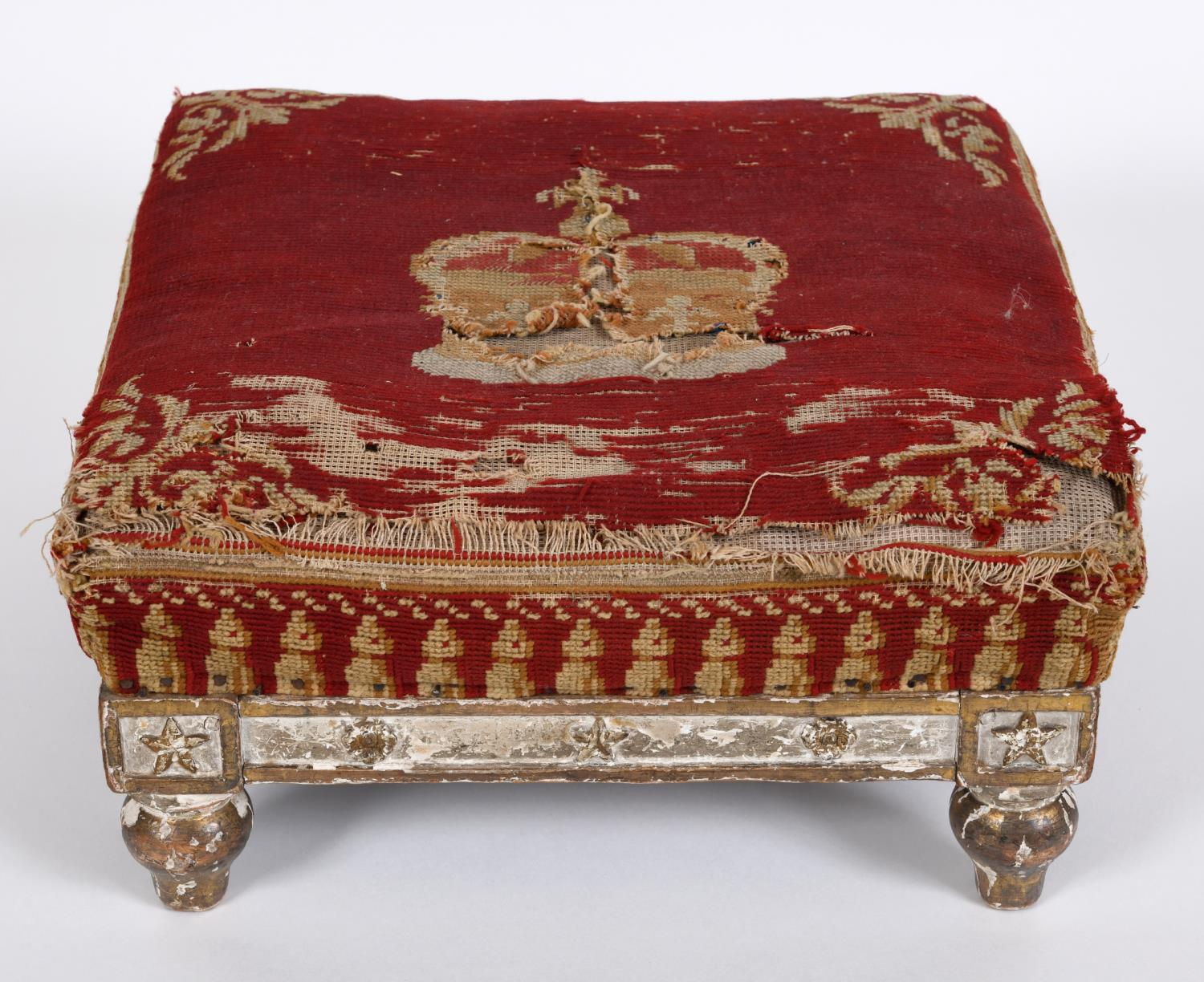 A WILLIAM IV STOOL, POSSIBLY A CORONATION STOOL. A fine needlework and gilt gesso stool, the - Image 2 of 3