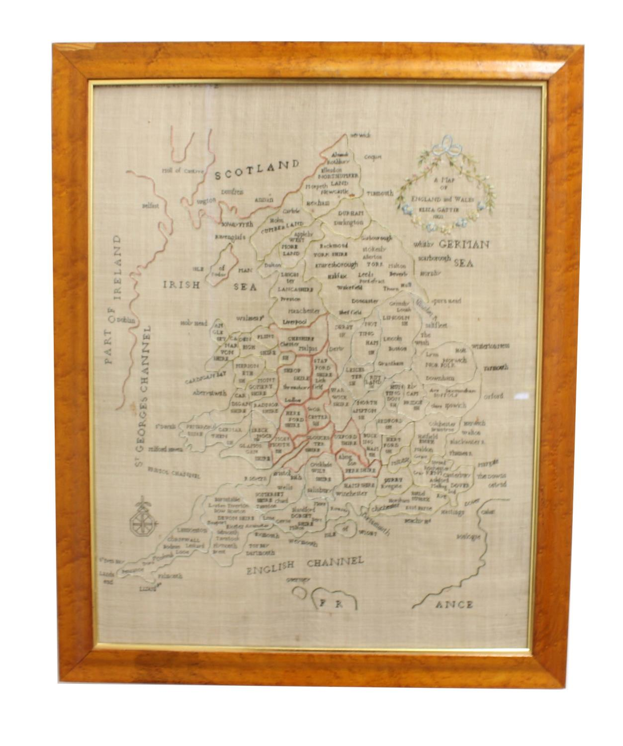 A GEORGE III NEEDLEWORK 'MAP' SAMPLER AND TWO OTHERS. A map sampler of England and Wales showing the - Image 3 of 3