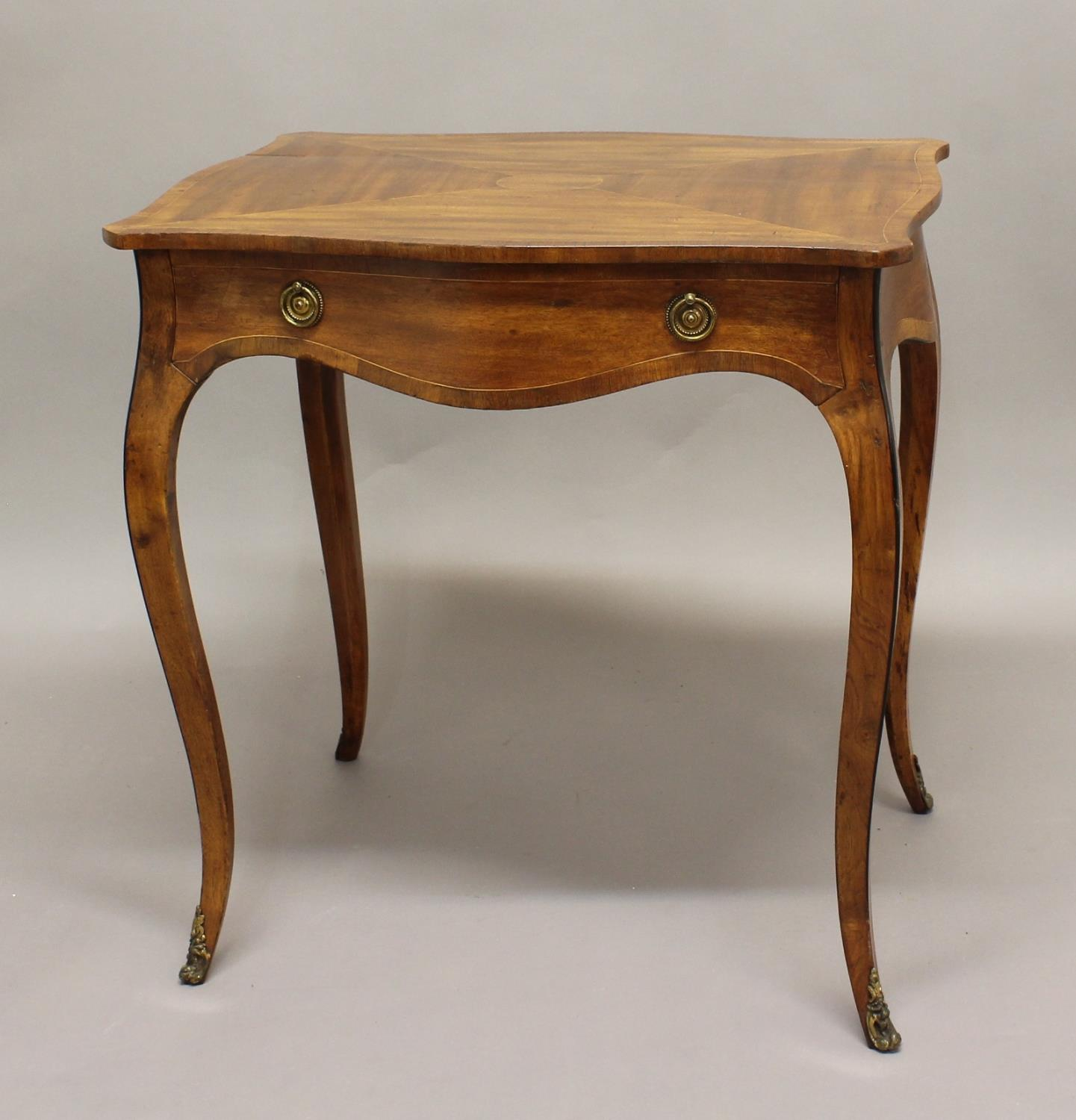 GEORGE III MAHOGANY SERPENTINE SIDE TABLE, the shaped rectangular top above a single drawer on