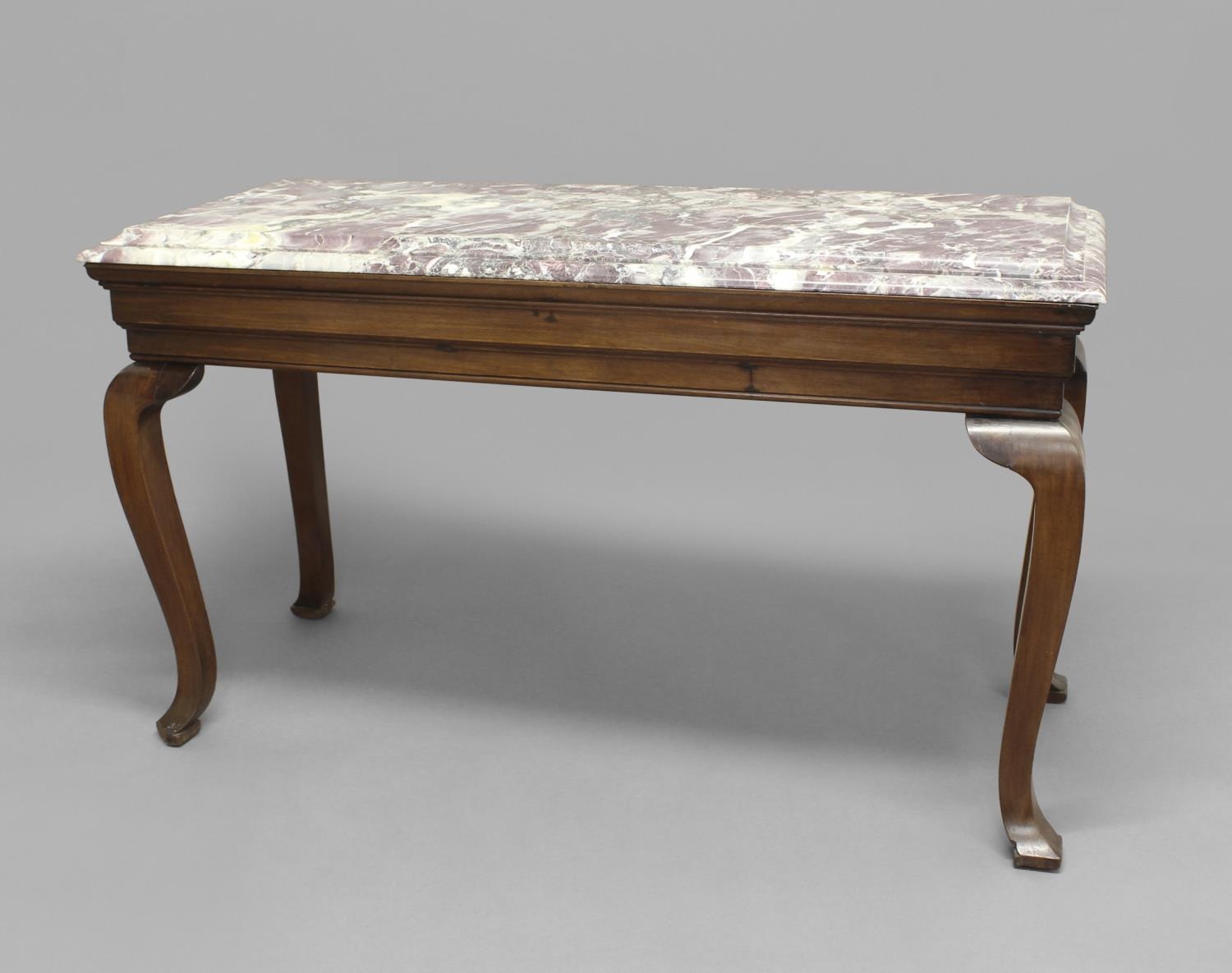 A MARBLE TOPPED CONSOLE TABLE, the rectangular top on a mahogany frame with Queen Anne style legs, - Image 2 of 2