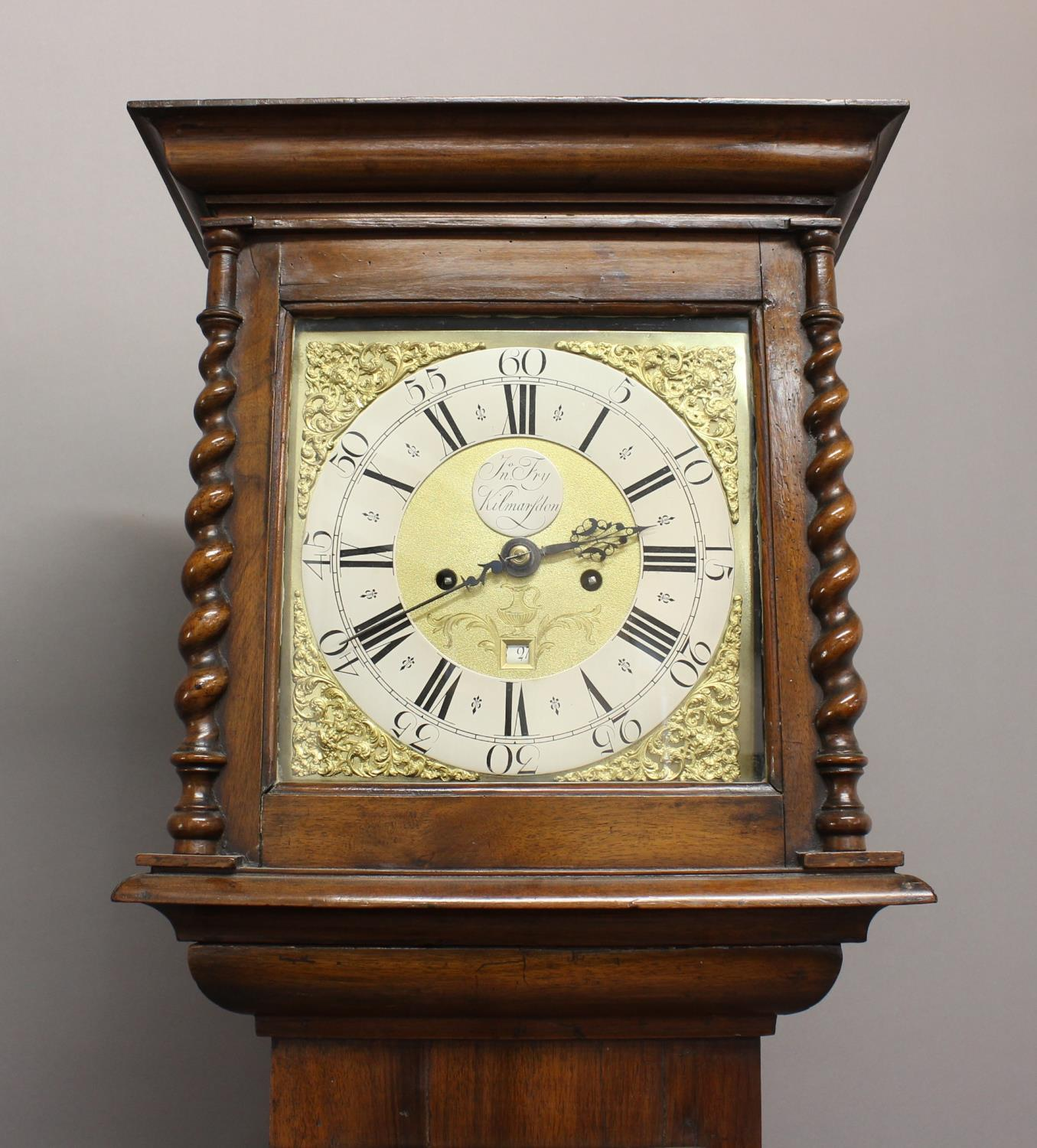 """A WALNUT CASED LONGCASE CLOCK BY FRY OF KILMARSDON. With an 11"""" dial with silvered chapter ring - Image 3 of 3"""