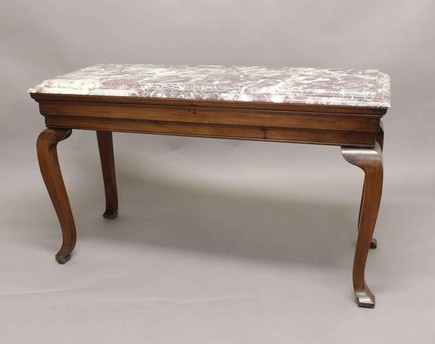 A MARBLE TOPPED CONSOLE TABLE, the rectangular top on a mahogany frame with Queen Anne style legs,