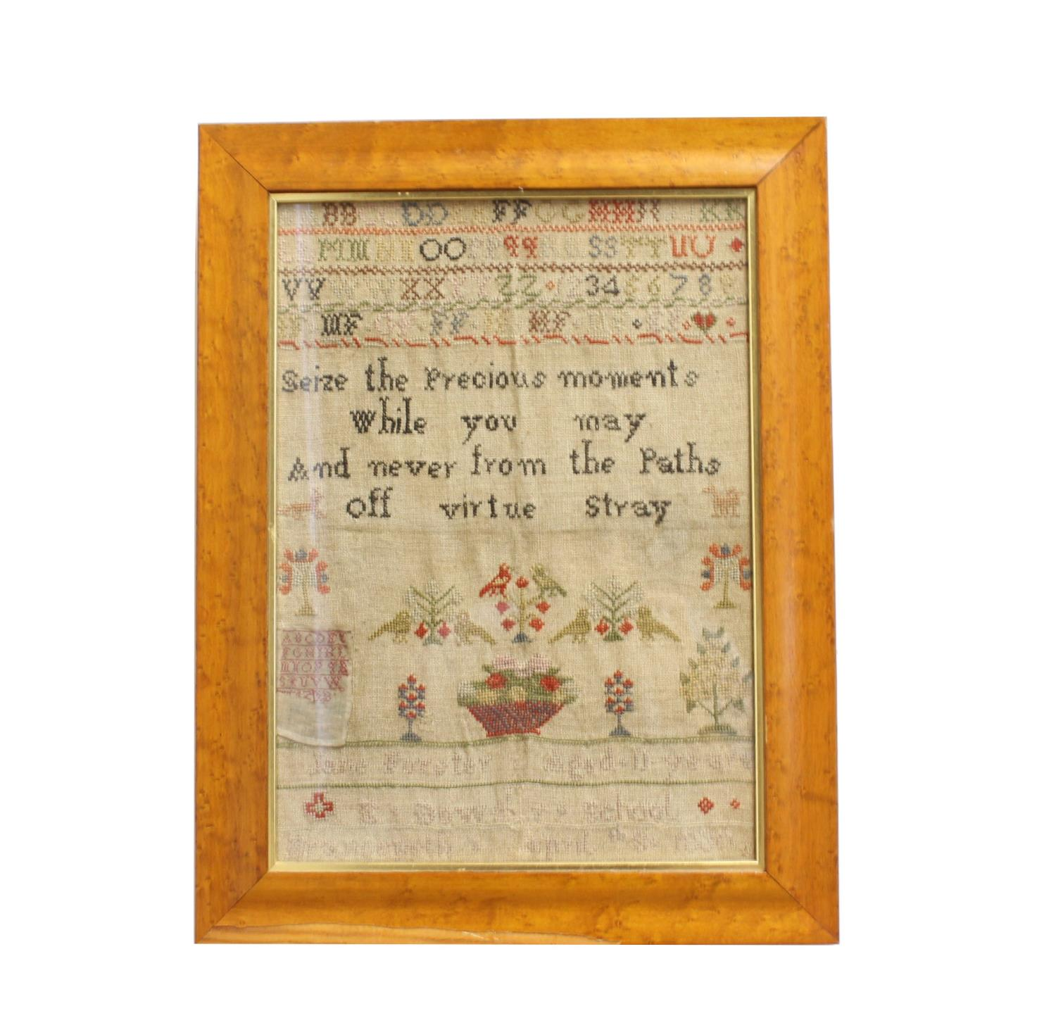 A GEORGE III NEEDLEWORK 'MAP' SAMPLER AND TWO OTHERS. A map sampler of England and Wales showing the