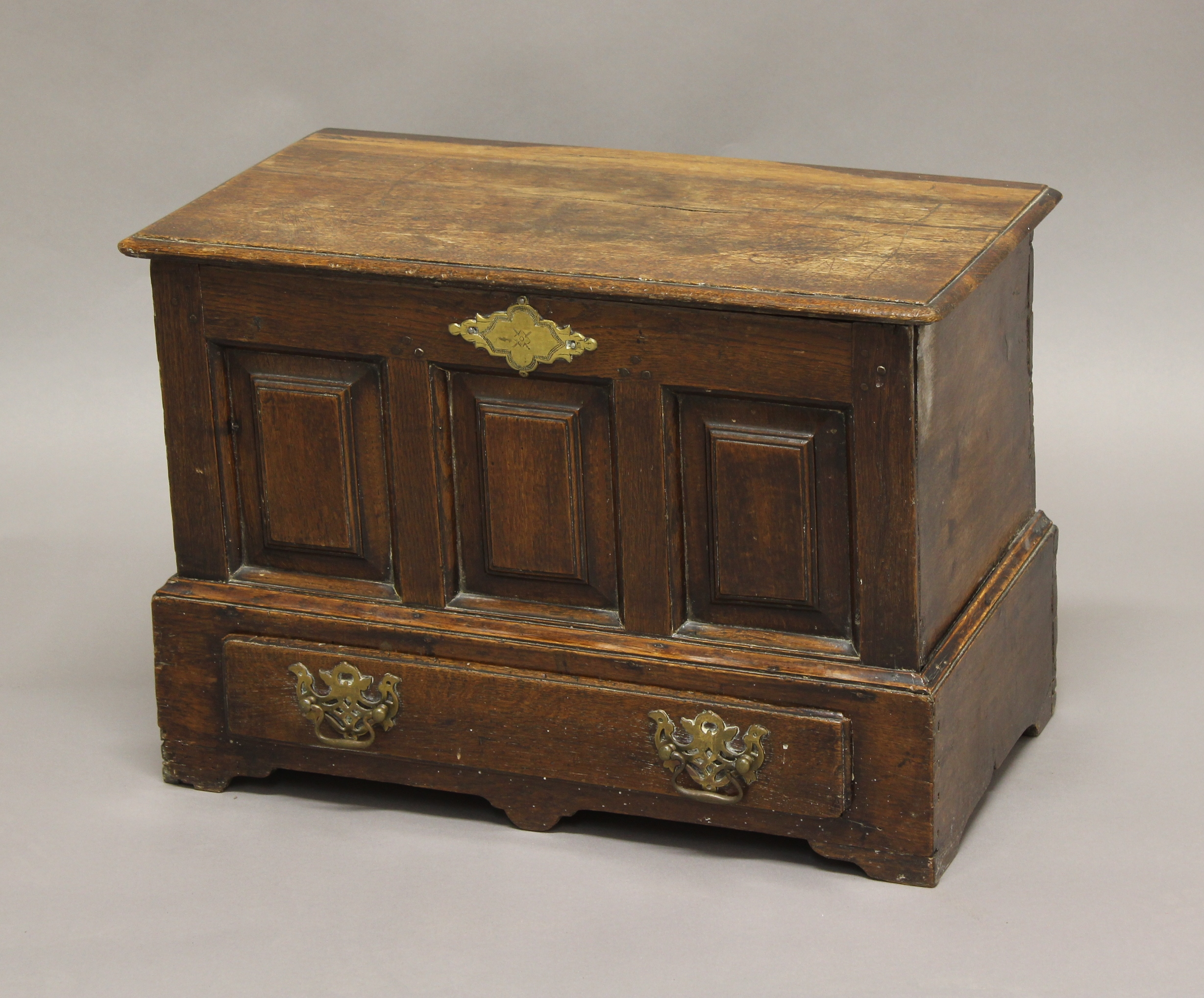 A SMALL WELSH OAK MARRIAGE CHEST, 18th century, the panelled front above single drawer