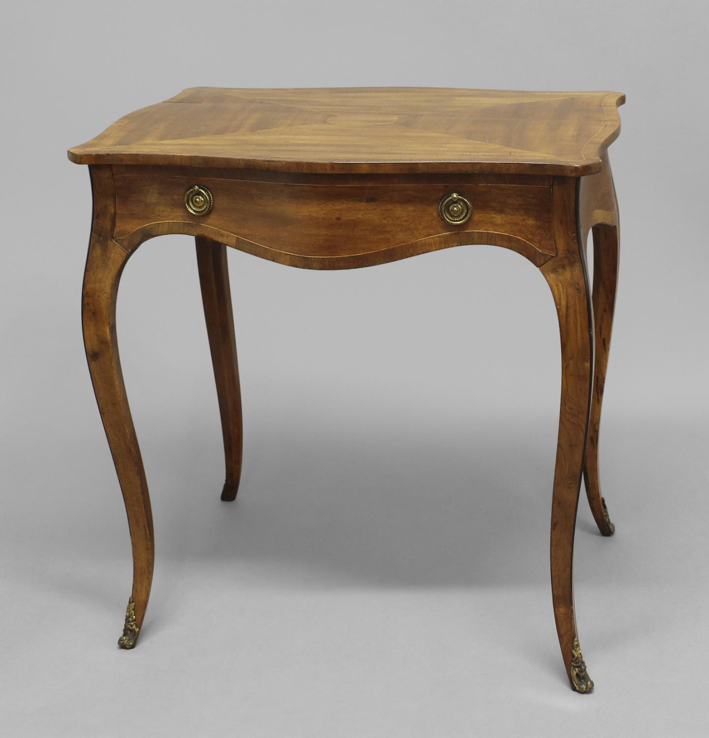 GEORGE III MAHOGANY SERPENTINE SIDE TABLE, the shaped rectangular top above a single drawer on - Image 2 of 2