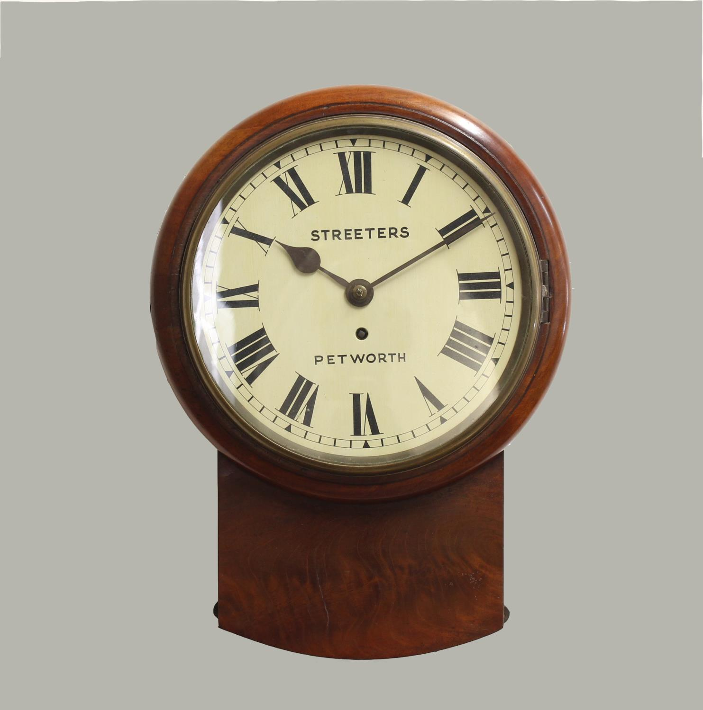 A VICTORIAN MAHOGANY DROP DIAL WALL CLOCK BY STREETERS OF PETWORTH. A drop dial wall clock with a