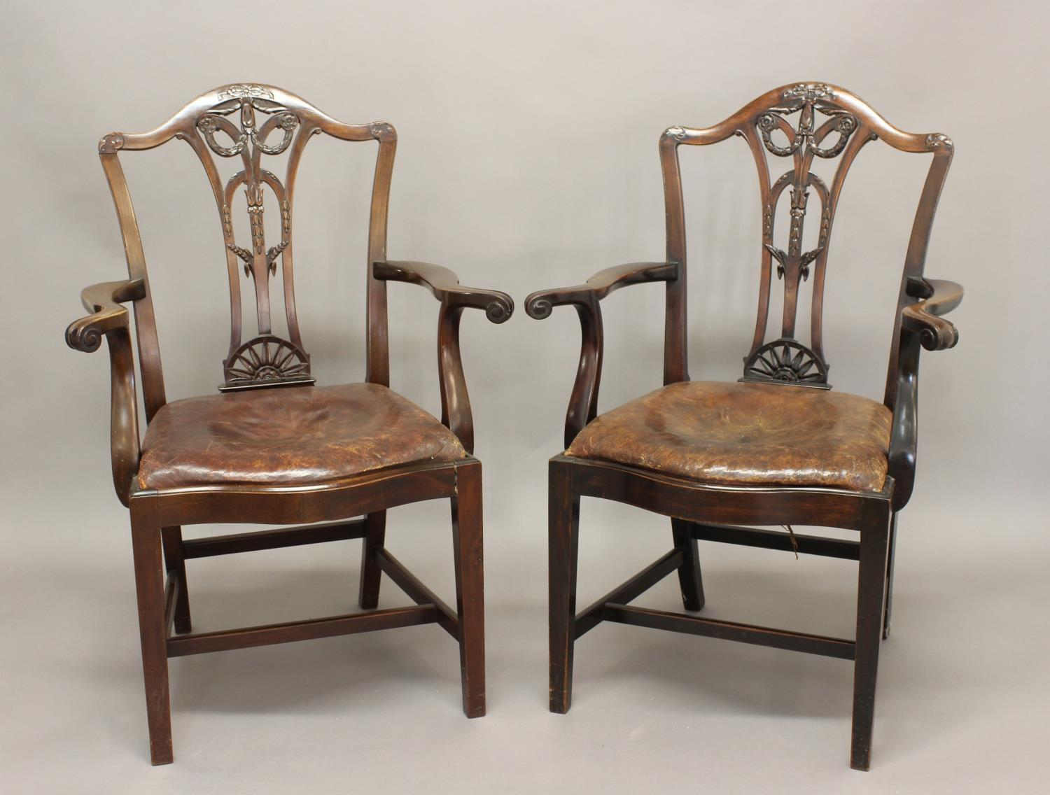 PAIR OF CHIPPENDALE STYLE MAHOGANY ARMCHAIRS, the pierced splats with moulded swag and ribbon