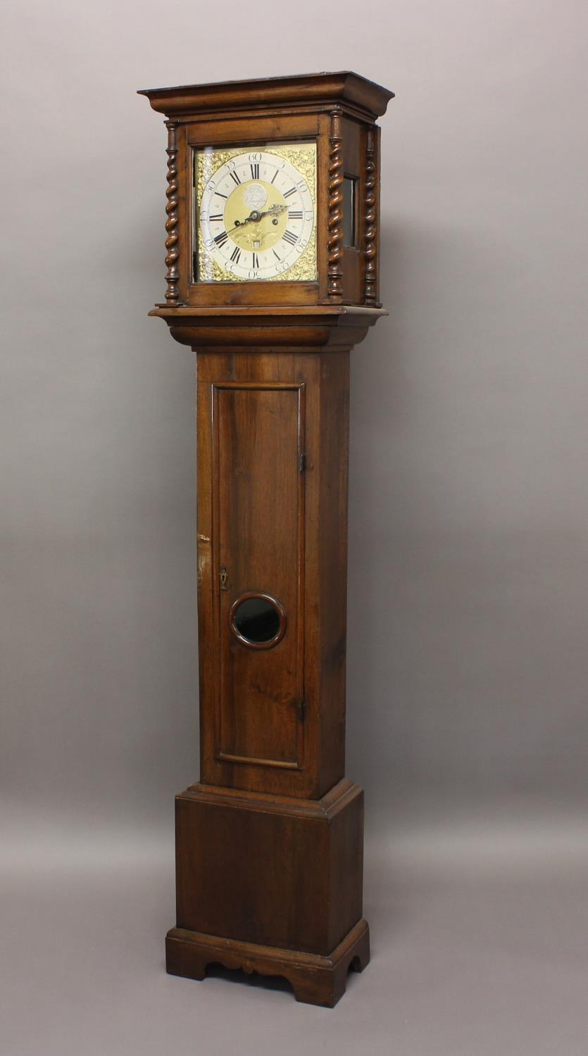 """A WALNUT CASED LONGCASE CLOCK BY FRY OF KILMARSDON. With an 11"""" dial with silvered chapter ring"""