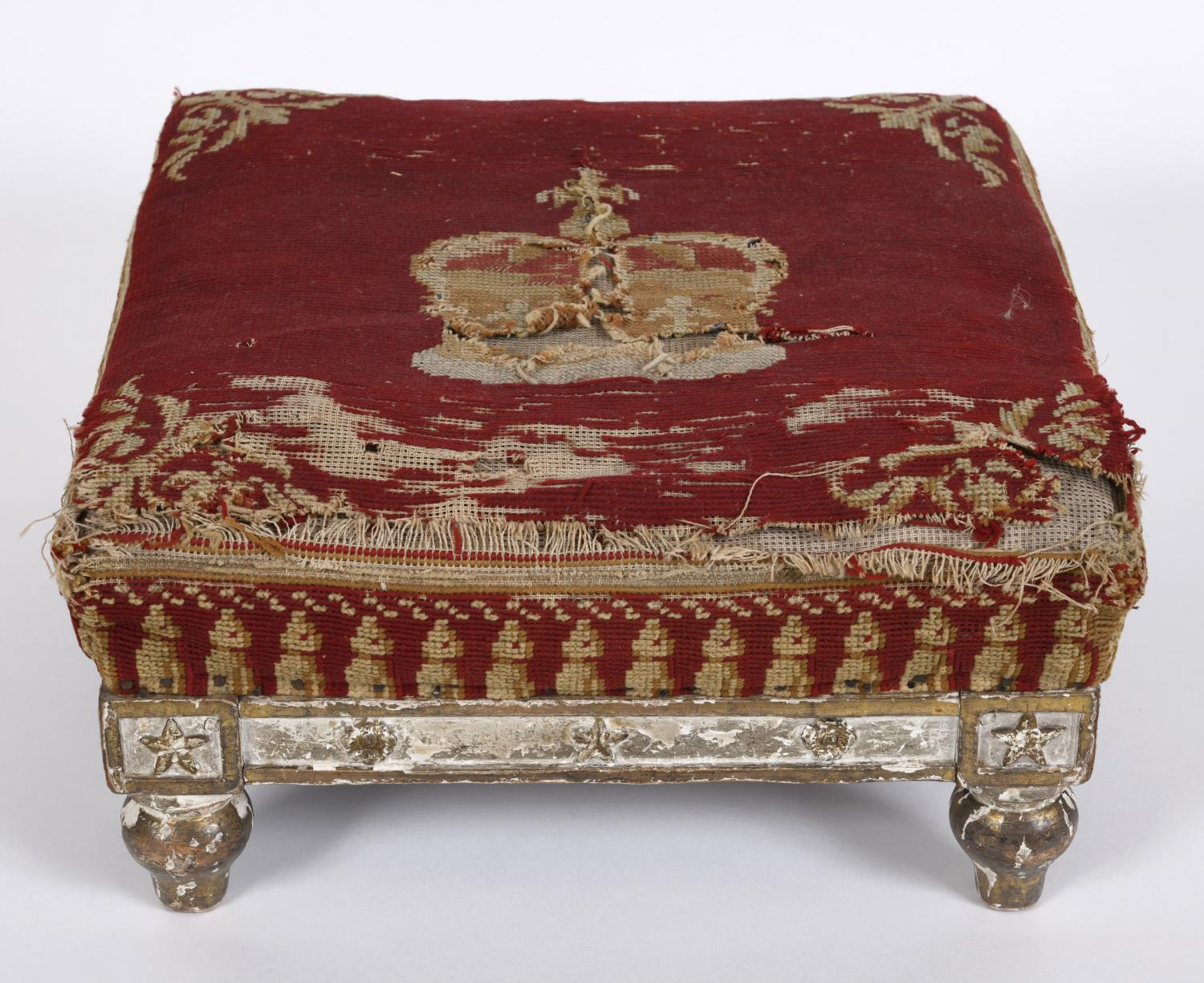 A WILLIAM IV STOOL, POSSIBLY A CORONATION STOOL. A fine needlework and gilt gesso stool, the - Image 3 of 3