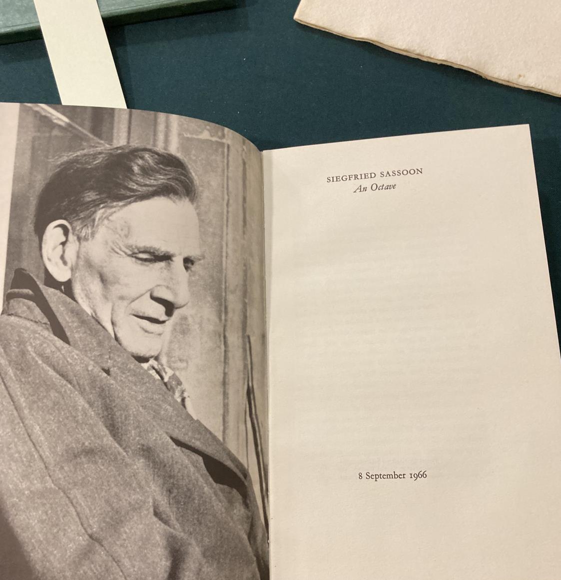 Sassoon, Siegfried. An Octave, number 107 of 350 copies, portrait frontispiece, original green