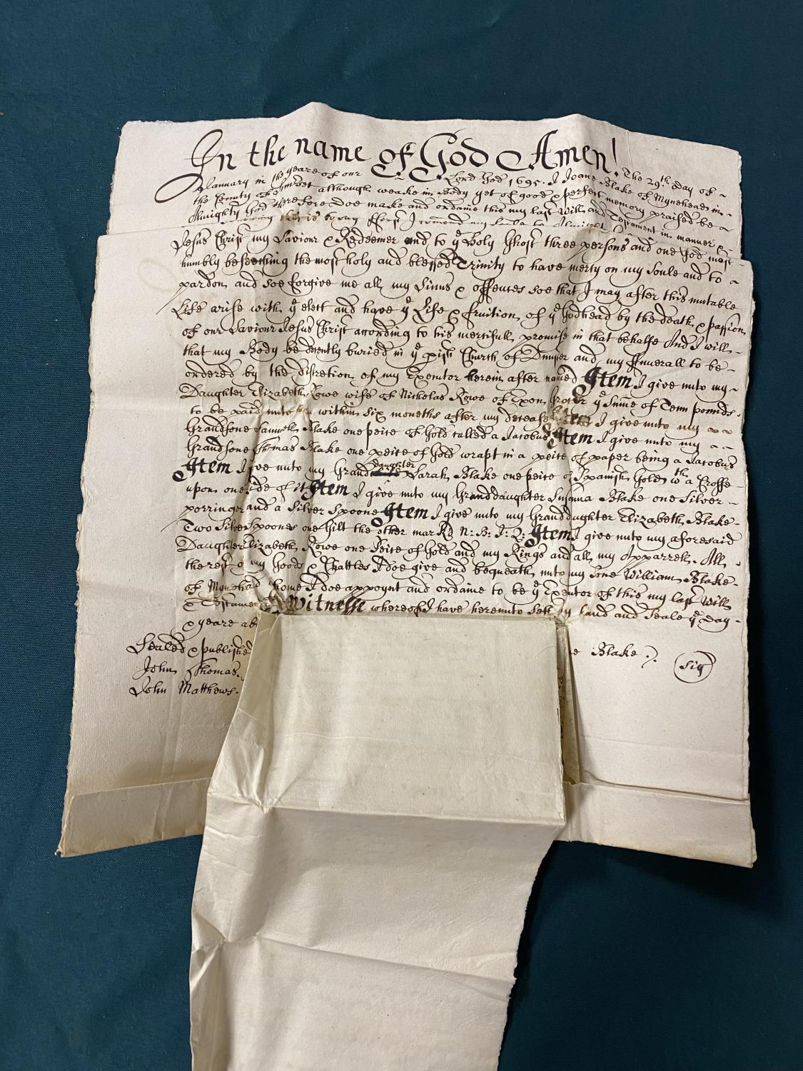 Will and Inventory. A late 17th century manuscript will and inventory for Joan Blake of Minehead, - Image 2 of 2