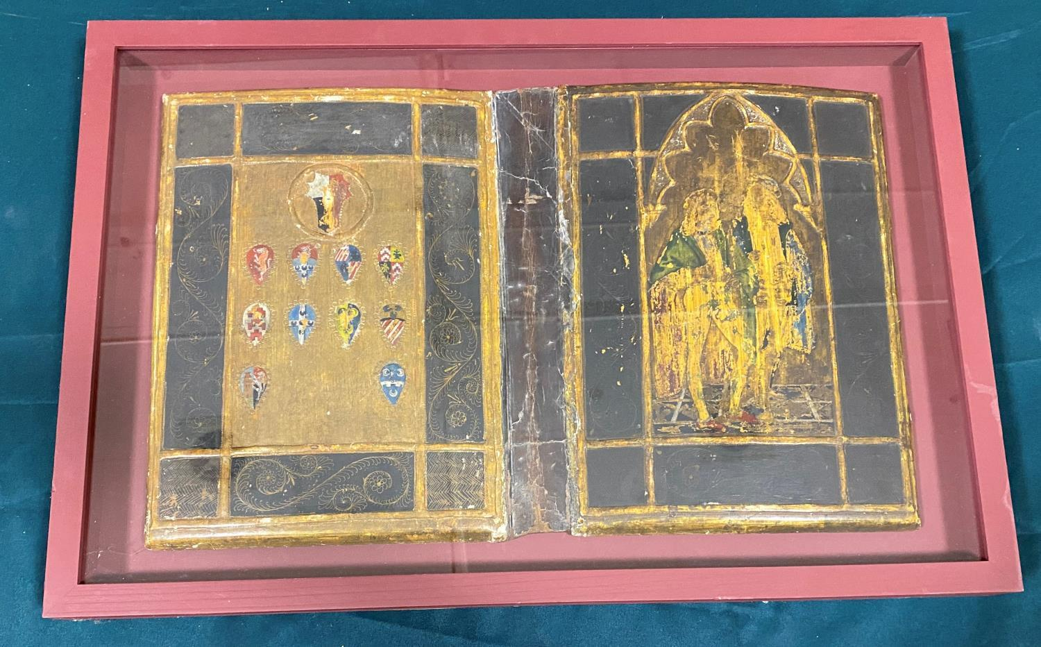 Early Italian Book Binding. A case for a book, the upper cover with two figures under a gothic arch,