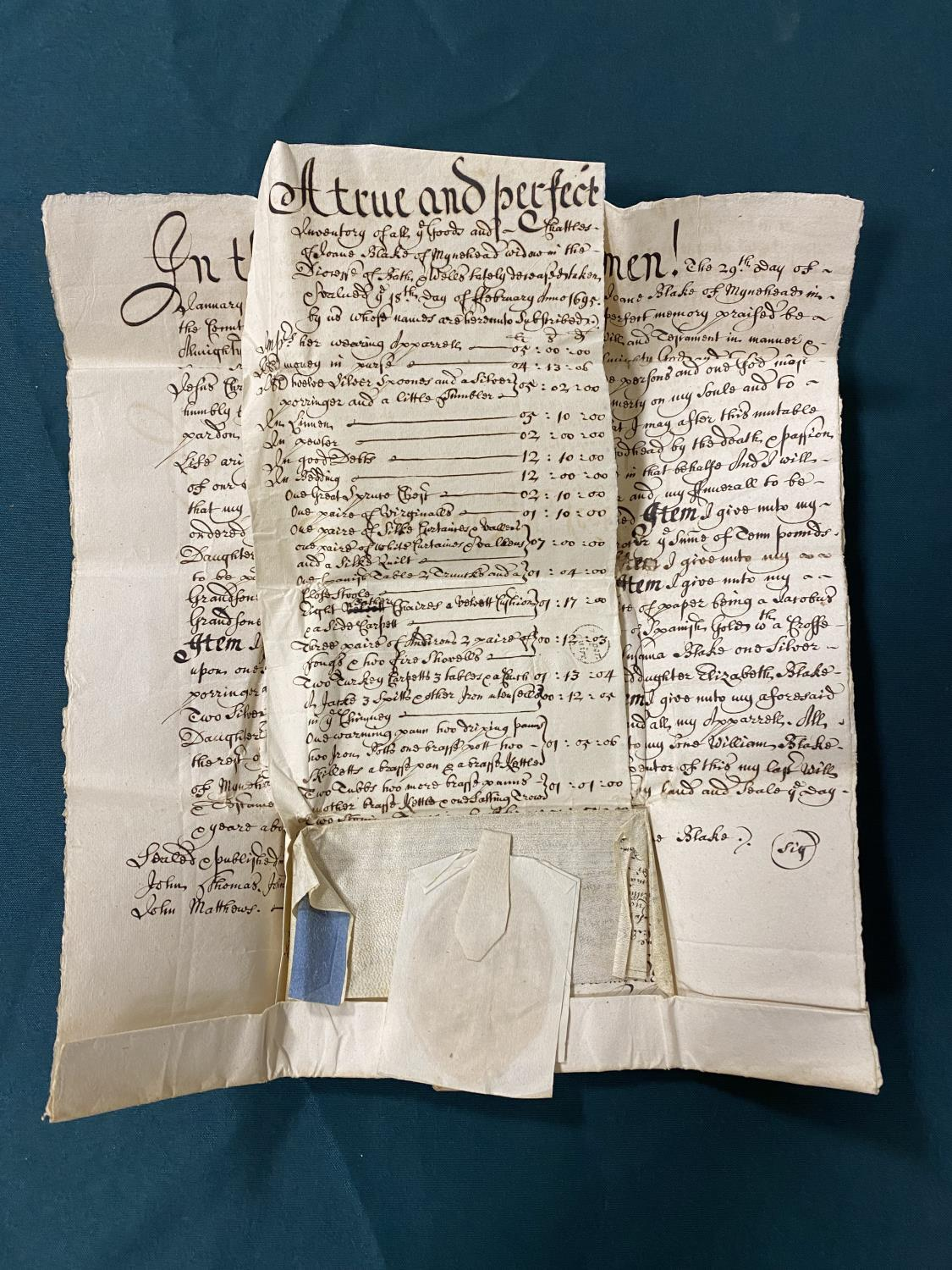Will and Inventory. A late 17th century manuscript will and inventory for Joan Blake of Minehead,