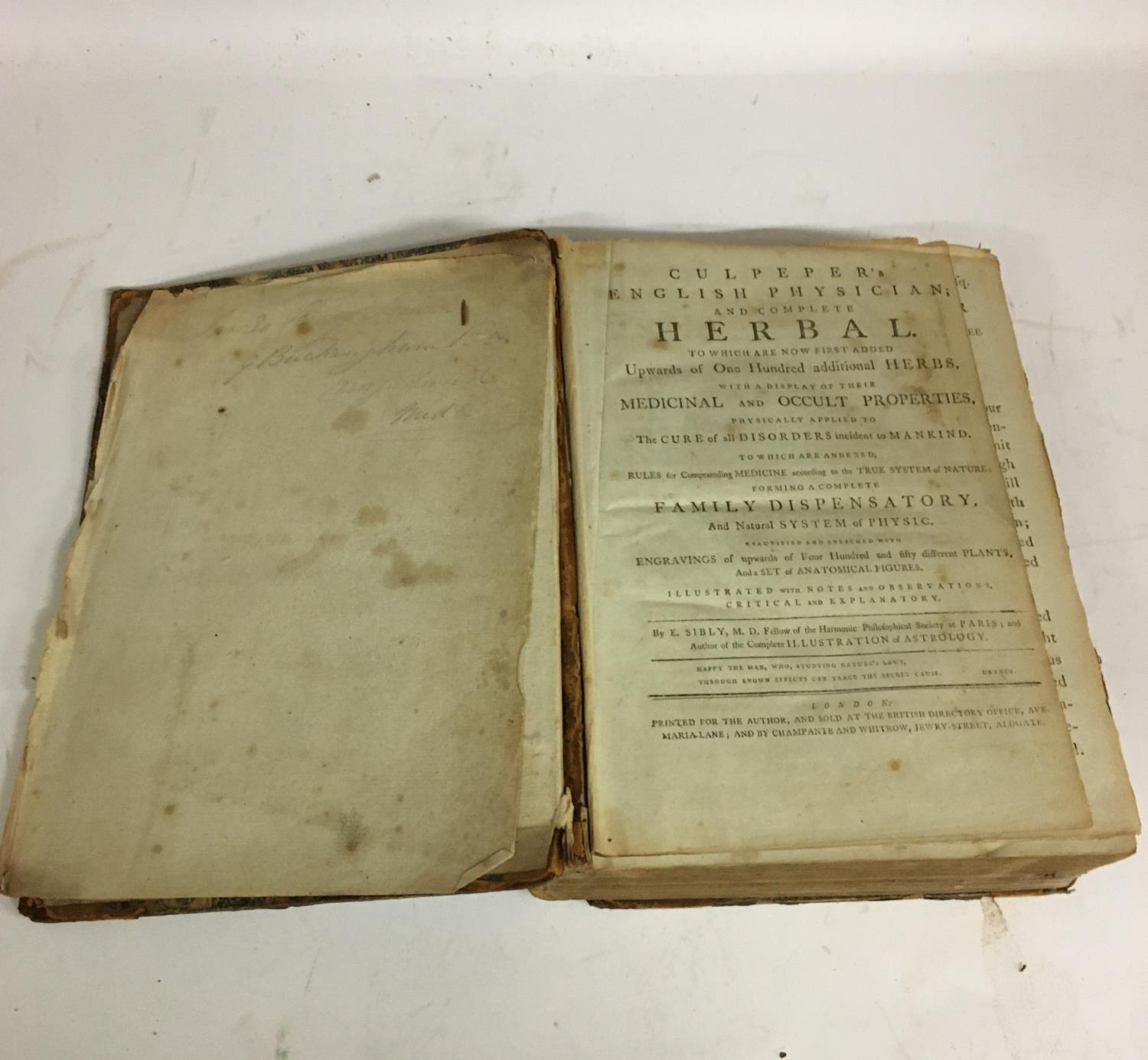 Culpeper, Nicholas. The English Physician; and Complete Herbal... with Notes and Observations, - Image 4 of 7