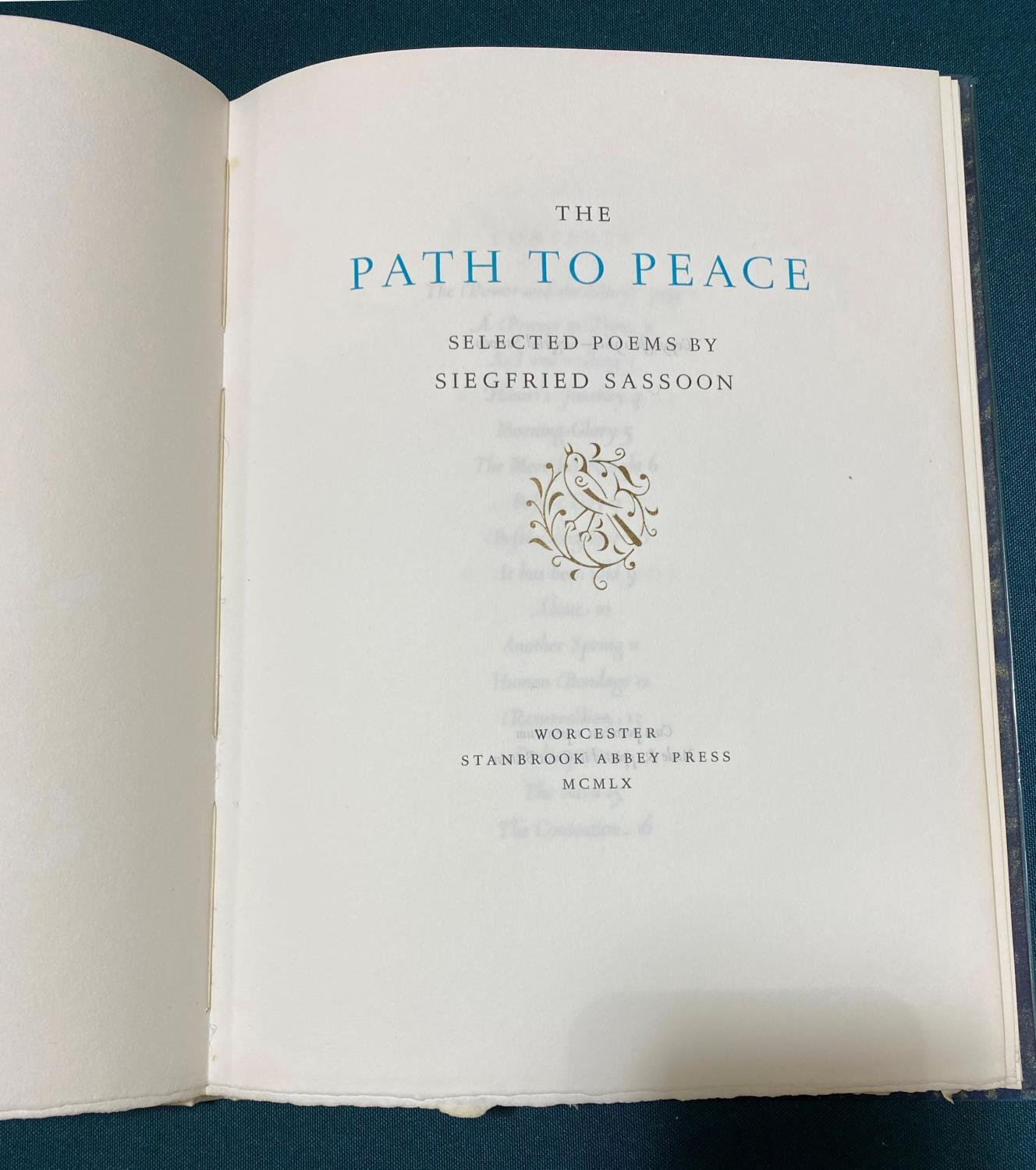 Sassoon, Siegfried. The Path to Peace, number 67 of 480 copies on W.S.H. handmade paper, original