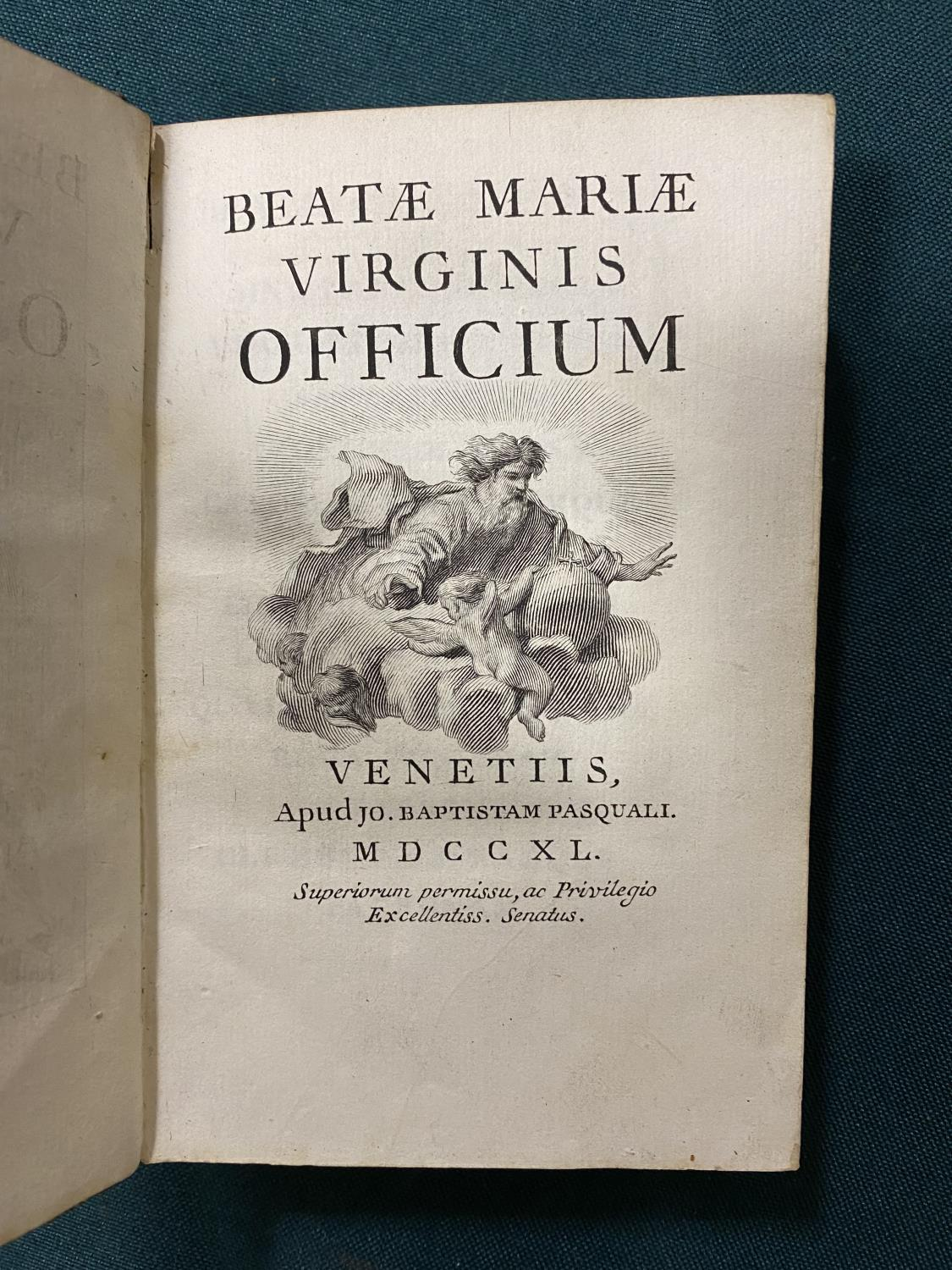 [Anon] Beatae Mariae Virginis Officium, engraved throughout, frontispiece, vignette on title and - Image 2 of 4