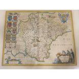 Blaeu, Johannes. Devonia vulgo Devonshire, hand-coloured engraved map, evidence of minor repairs,