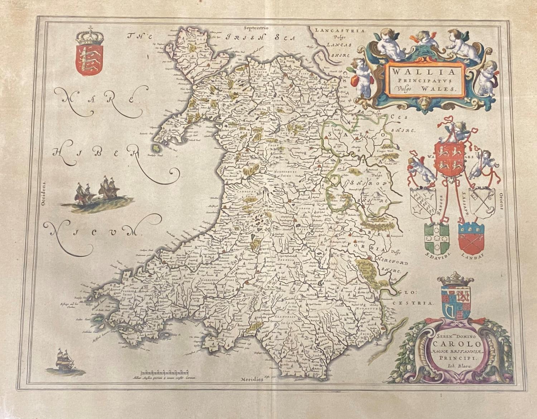 Blaeu, Willem. Wallia Principatus vulgo Wales, engraved map, hand-coloured in outline, 502mm x