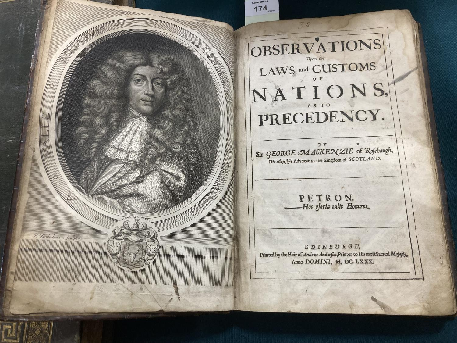 Mackenzie, George. Observations upon the Laws and Customs of Nations, as to Precedency, first - Image 2 of 2