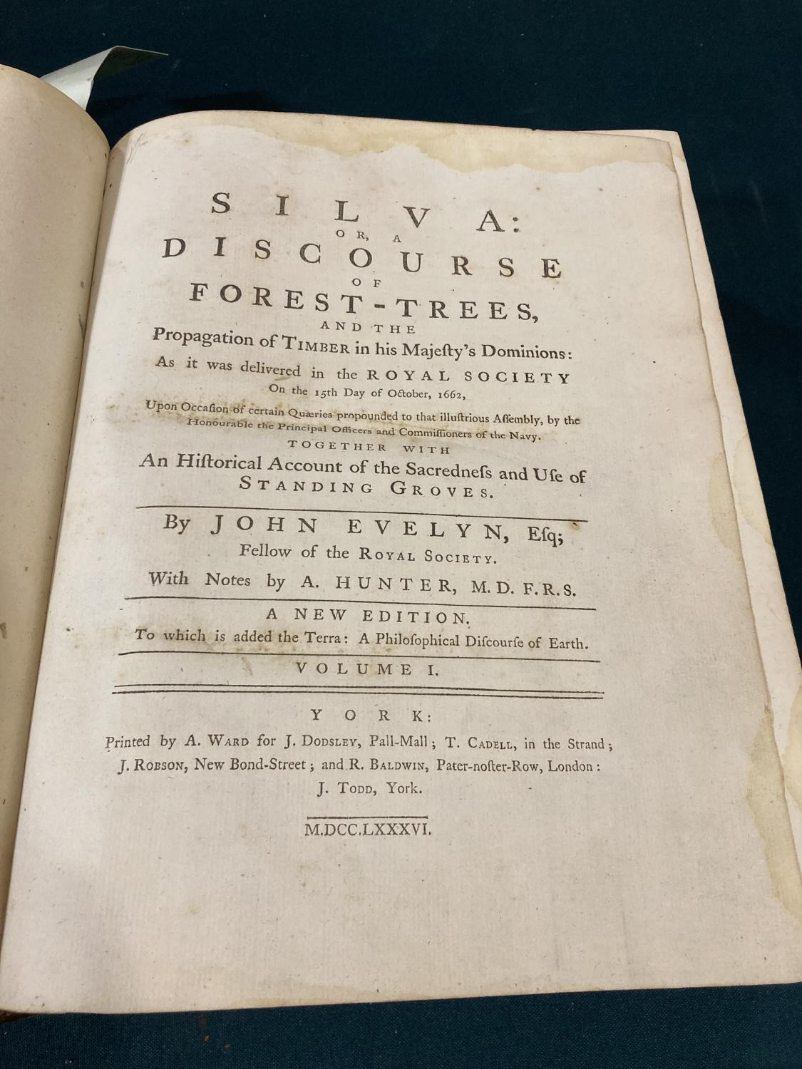 Evelyn, John. Silva: or, A Discourse of Forest-Trees... With Notes by A. Hunter, 2 volumes in one, - Image 2 of 2