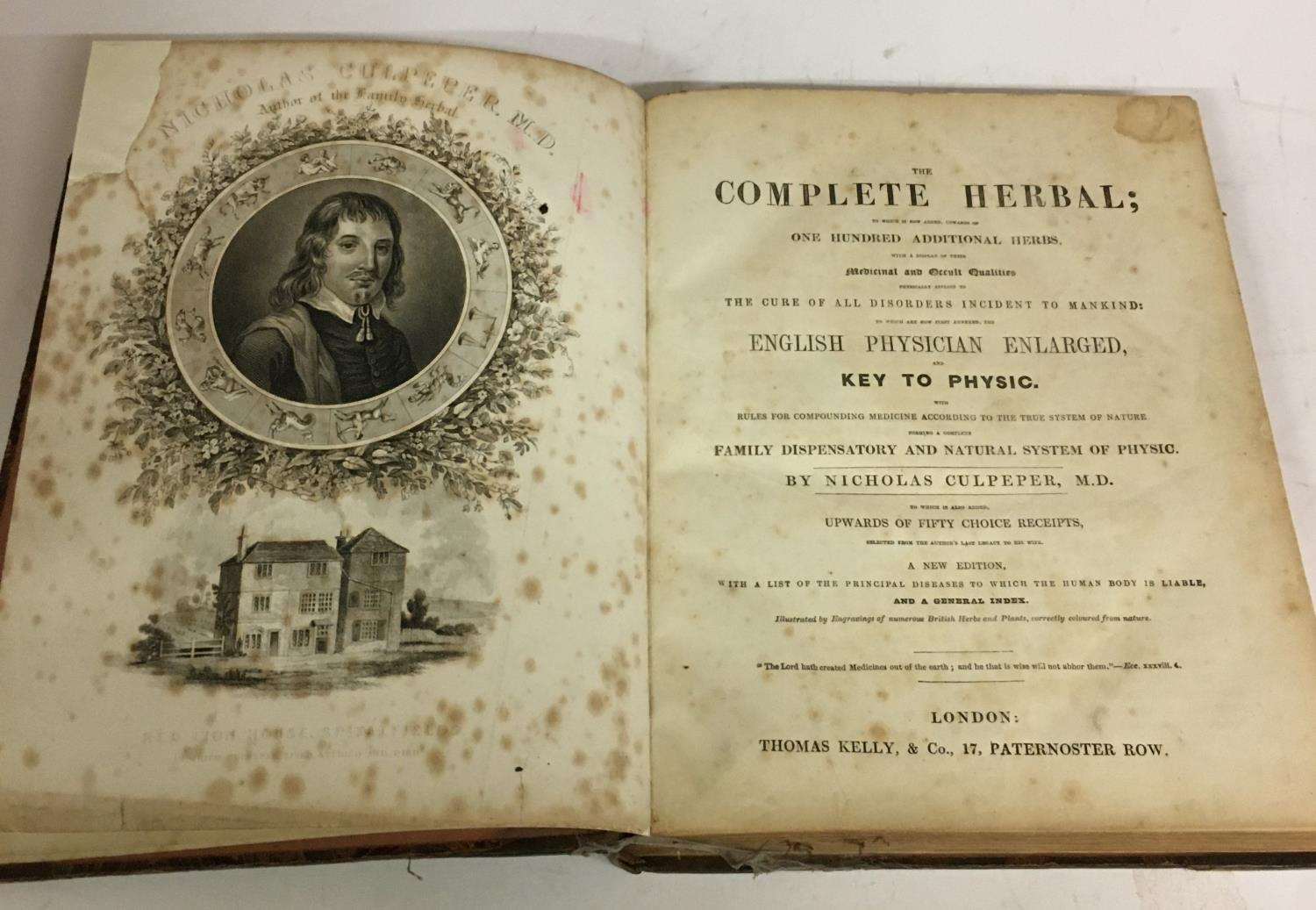 Culpeper, Nicholas. The Complete Herbal, new edition, portrait frontispiece, spotted, laid-down,