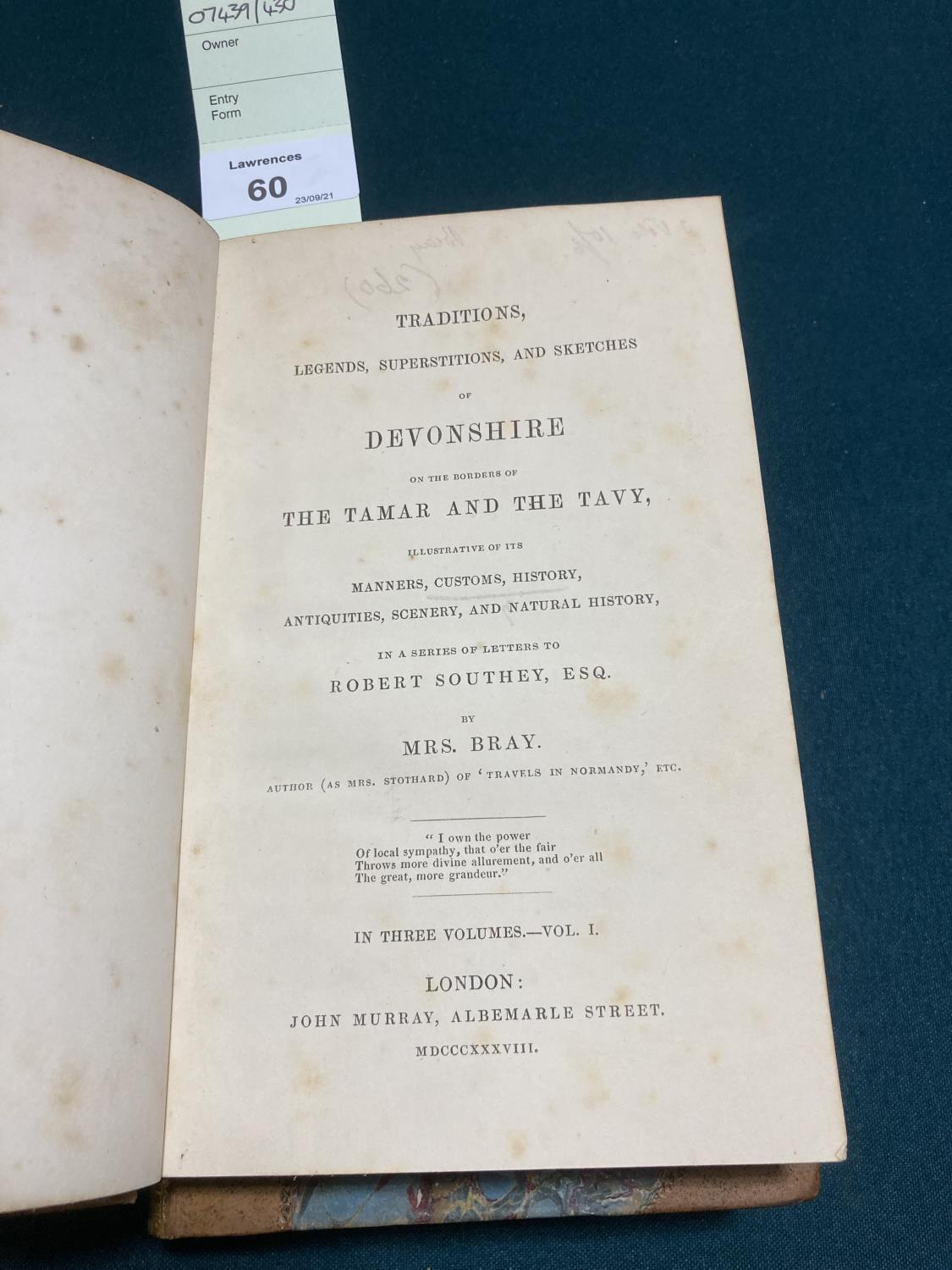 Bray, Anna Eliza Stothard. Traditions, Legends, Superstitions, and Sketches of Devonshire... in a - Image 2 of 4