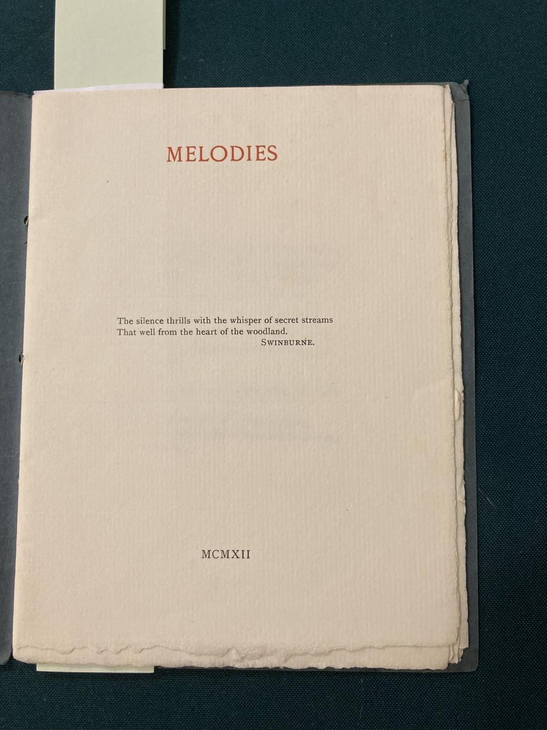 Sassoon, Siegfried. Melodies, one of 35 copies, original green printed wrappers, small stain on - Image 2 of 4