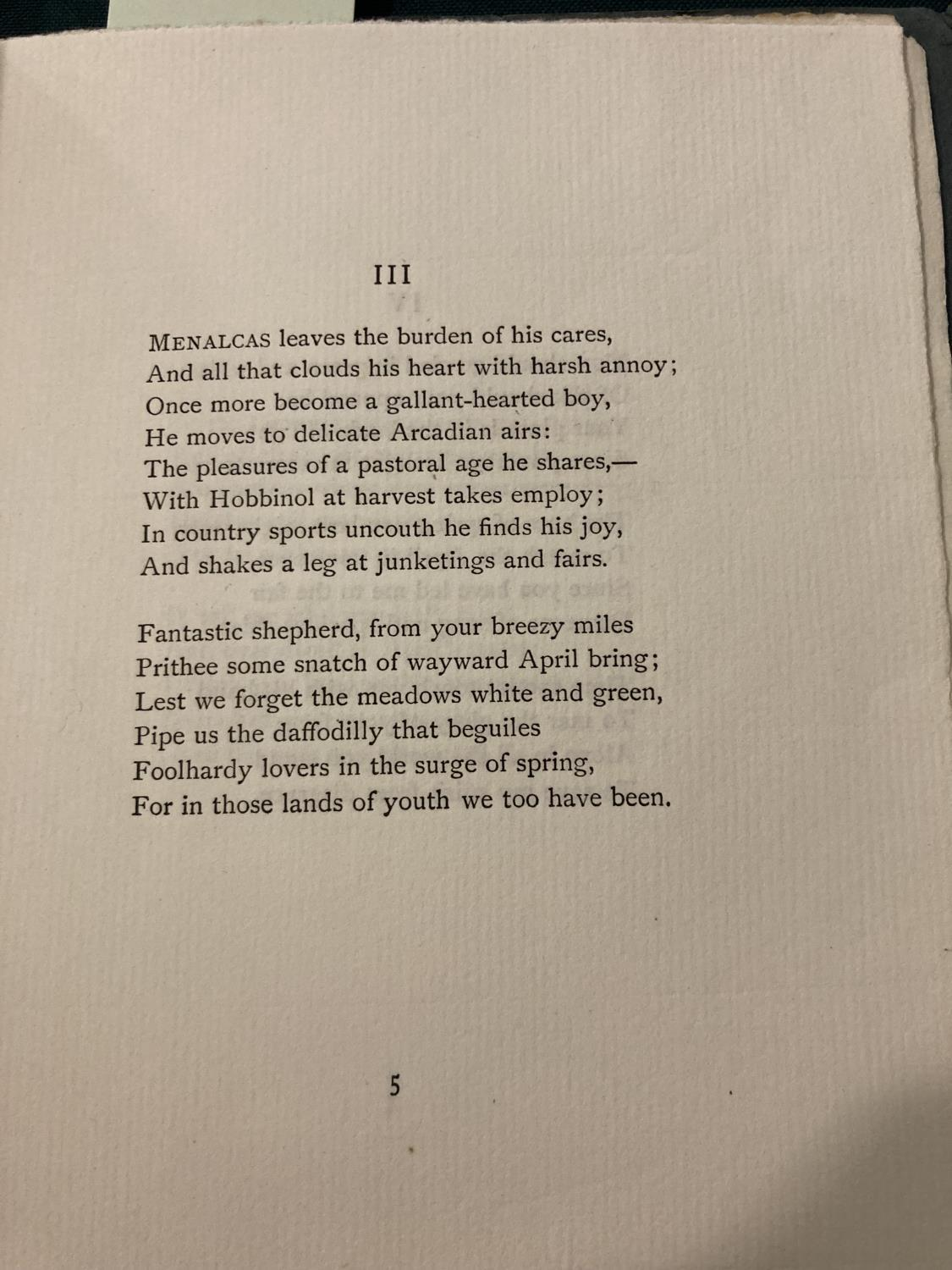 Sassoon, Siegfried. Melodies, one of 35 copies, original green printed wrappers, small stain on - Image 3 of 4