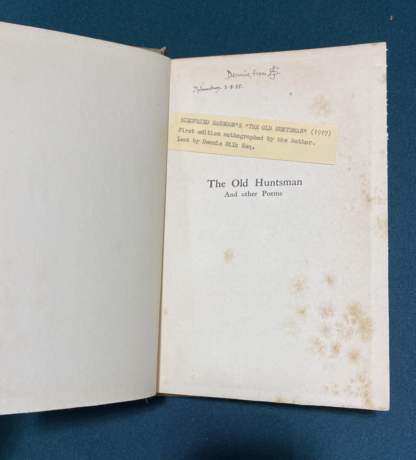 Sassoon, Siegfried. The Old Huntsman And other Poems, first English edition, inscribed on half - Image 3 of 5