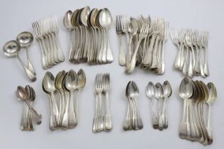 A GEORGE III CANTEEN OF FIDDLE, THREAD AND DROP PATTERN FLATWARE (without shoulders) TO INCLUDE:-