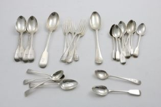 ASSORTED ANTIQUE FLATWARE:- A matched set of four Fiddle Thread dessert spoons, five Thread
