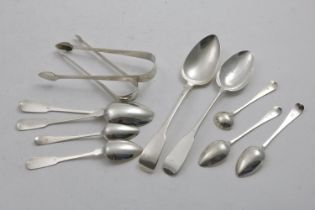 CHANNEL ISLES:- The following pieces by Jacques Quesnel of Jersey:- two pairs of sugar tongs, two