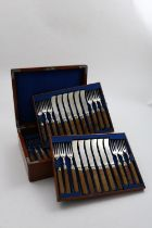 A VICTORIAN CASED SET OF TWENTY FOUR AGATE HANDLED DESSERT KNIVES and twenty four forks with