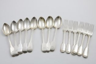 """A SET OF SIX GEORGE IV FIDDLE & THREAD PATTERN TABLE FORKS initialled """"CF"""", by William Chawner,"""