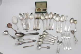 A MISCELLANEOUS QUANTITY OF SWEDISH FLATWARE including a cased set of six coffee spoons, many pieces