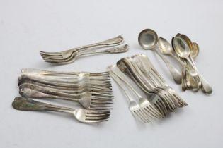 MISCELLANEOUS FLATWARE:- Eleven various George III / IV dessert forks, twelve table forks and eleven