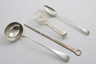 A GEORGE III OLD ENGLISH PATTERN SOUP LADLE by C & T Barker, London 1804, a basting spoon,