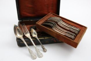 AN EARLY 19TH CENTURY FRENCH PART-SERVICE OF FLATWARE IN A VARIENT OF QUEEN'S PATTERN TO INCLUDE:-