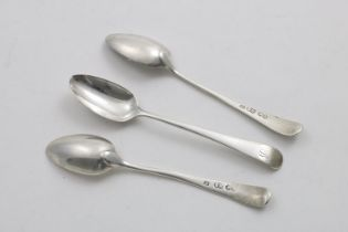 """A SET OF THREE LATE 18TH CENTURY MALTESE TEA SPOONS Old English pattern, initialled """"B"""", maker's"""