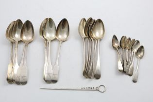 NEWCASTLE FLATWARE:- A set of six George III Old English pattern table spoons, initialled and