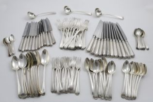 A GEORGE III COLLECTED SERVICE OF OLD ENGLISH THREAD PATTERN FLATWARE (SINGLE-STRUCK), TO