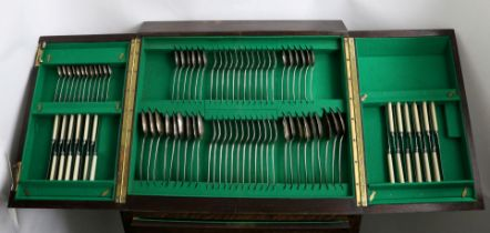 A COLLLECTED SERVICE OF OLD ENGLISH AND HANOVERIAN PATTERN FLATWARE in a fitted oak canteen on