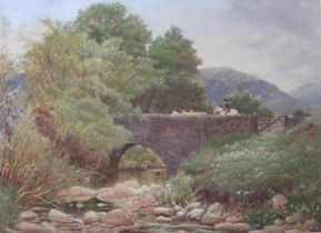 •RICHARD REDFERN (Fl.1873-1913) BRIDGE OVER A TRIBUTARY OF THE TEES Signed, watercolour 35 x 47.