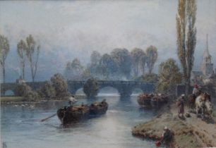 MYLES BIRKET FOSTER, RWS (1825-1899) RIVER SCENE WITH BARGES, FIGURES WITH A HORSE ON THE PATH