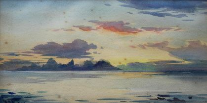 WILLIAM ALISTER MACDONALD (1861-1948) EVENING FROM THE ARTIST'S HOME, PIRAE, TAHITI Signed with