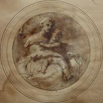 ROMAN SCHOOL, 17th CENTURY MADONNA AND CHILD Bears later inscription Guido Reni on support sheet,