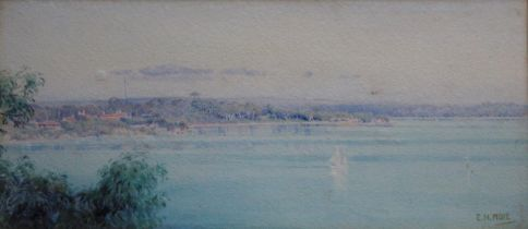 EDITH HELENA ADIE (1865-1947) THE SWAN RIVER, PERTH Signed, watercolour 11 x 26cm. Provenance: